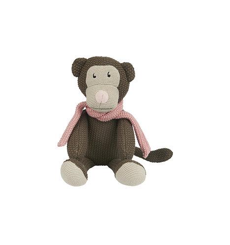Kuscheltier Affe mit Halstuch hellrosa