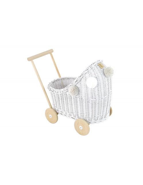 Puppenwagen Weiss mit Puppendecke - Lilu