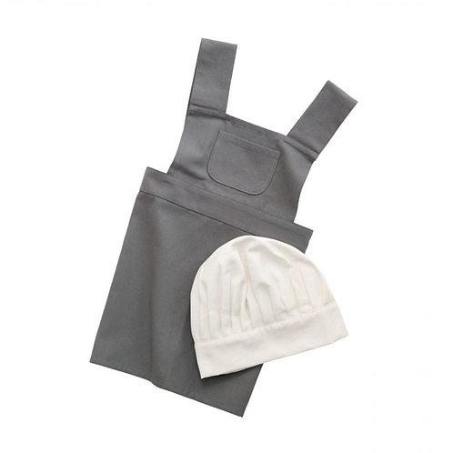 Kinderschürze und Kochmütze, elephant grey/classic white