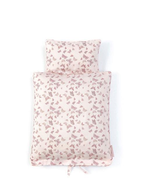 Puppenbettwäsche Schmetterling rosa von Smallstuff