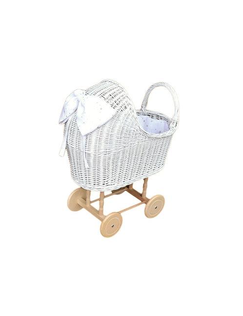 Puppenwagen Weiss mit Puppenbettwäsche - Lilu