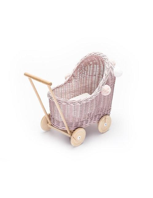 Puppenwagen Rosa mit Puppenbettwäsche - Lilu