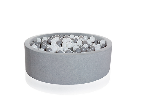 Kidkii Bällebad Light Grey - 200 Bälle Weiss / Grau