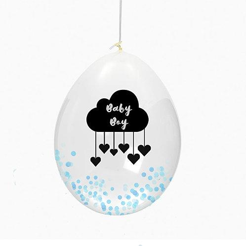 "Huusje - Ballon ""Baby boy"" mit Konfetti gefüllt"