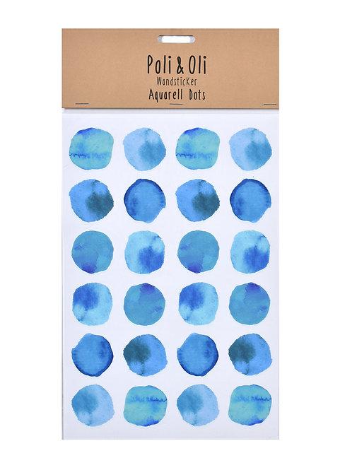 """Poli & Oli - Wandstickers """"Aquarell Dots blau"""""""