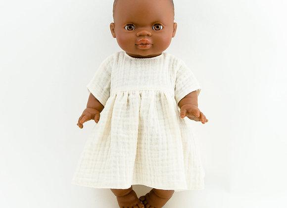 Musselin-Puppenkleid Weiss