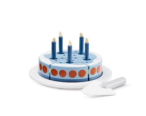 Kids Concept - Geburtstagskuchen mit Servierplatte blau