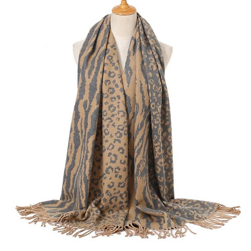 LEOPARD PRINT SCARF - TAUPE
