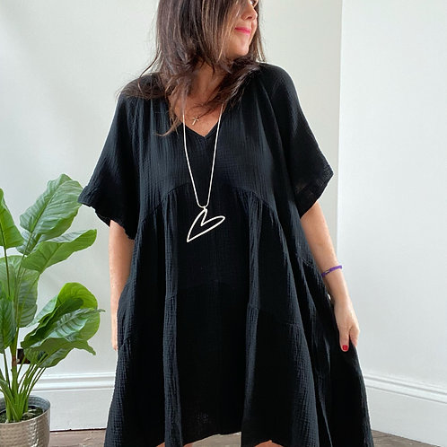 V NECK DRESS - BLACK