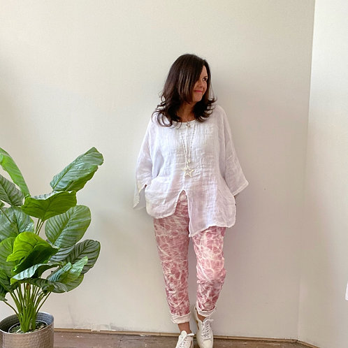 MARBLE PRINT MAGIC TROUSERS - PINK