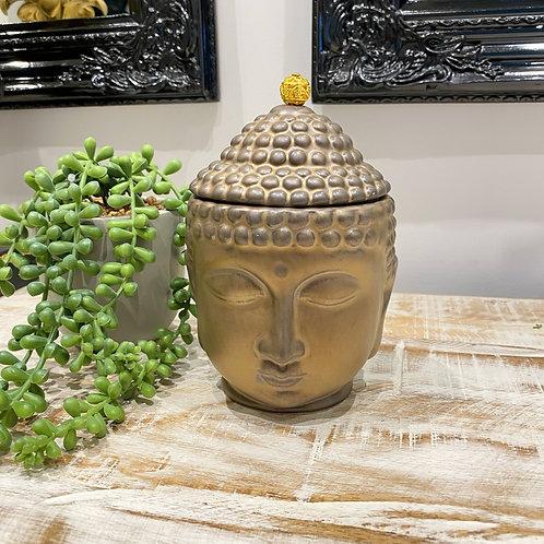 SMALL BRONZE BUDDHA HEAD STORAGE JAR