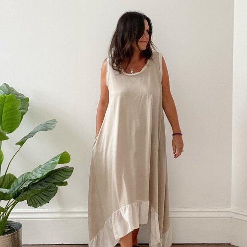 FRAYED EDGE DRESS - BEIGE