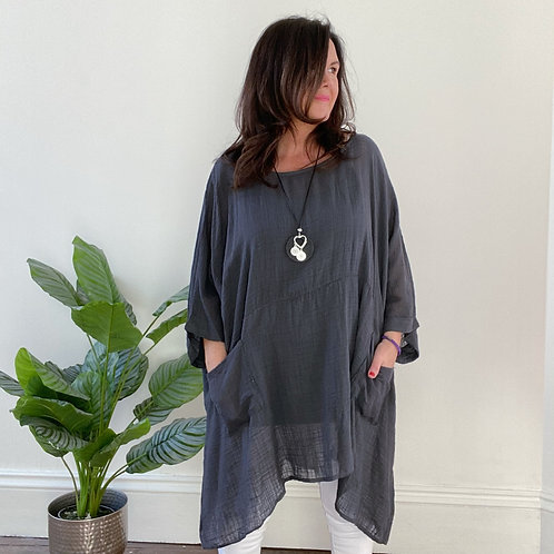 MADE IN ITALY NECKLACE TOP - CHARCOAL