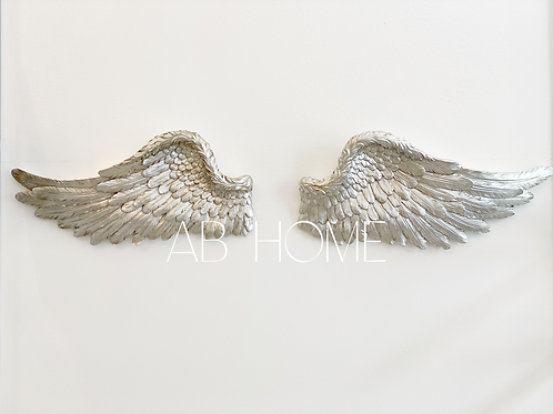 PAIR OF ANTIQUE SILVER WALL ANGEL WINGS