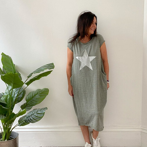 MADE IN ITALY STAR AND STIPE DRESS - KHAKI
