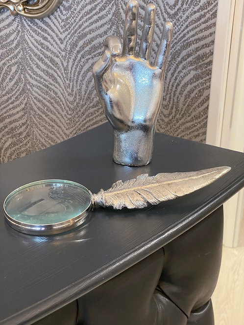 ANTIQUE SILVER FEATHER MAGNIFYING GLASS