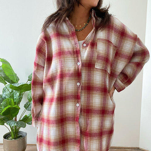 OVERSIZED CHECK SHIRT - RED