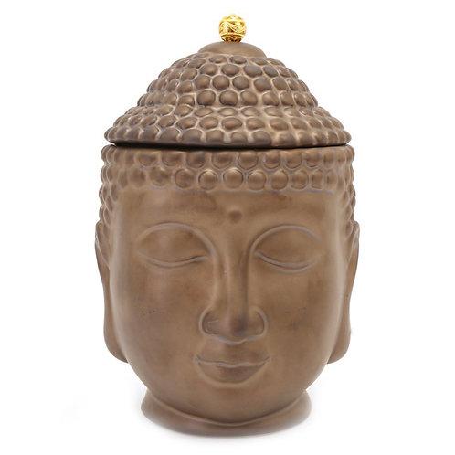 MEDIUM BRONZE BUDDHA HEAD STORAGE JAR