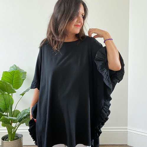 FRILL SIDE TOP - BLACK