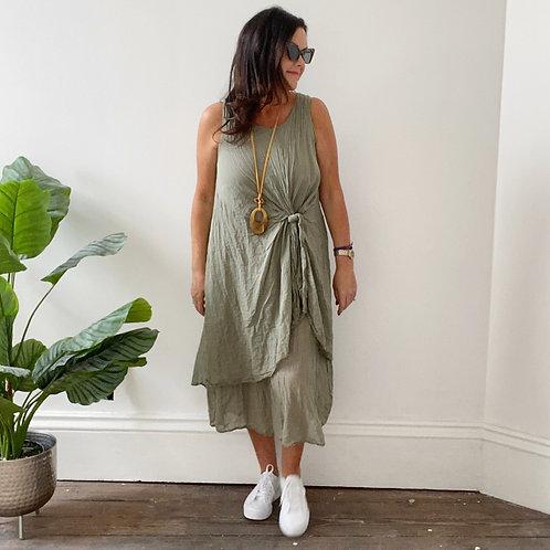 LOOSE TIE FRONT DRESS -  KHAKI
