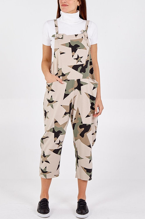 CAMOUFLAGE STAR PRINT DUNGAREES