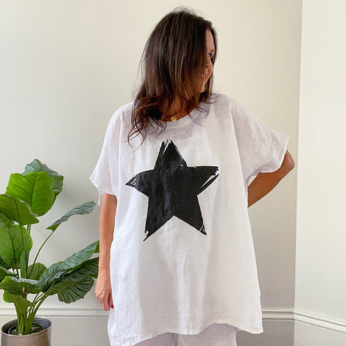 STAR LINEN TOP - WHITE