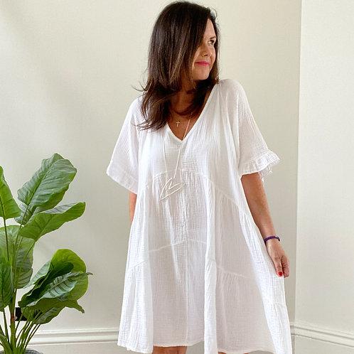V NECK DRESS - WHITE