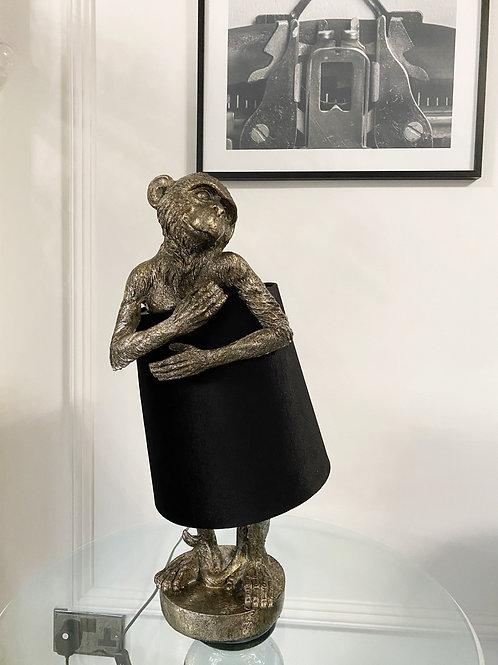 ANTIQUE SILVER BASHFUL MONKEY LAMP WITH BLACK VELVET SHADE