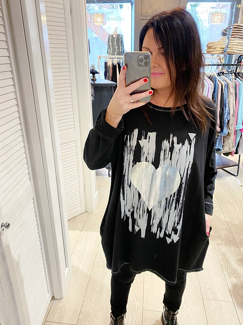 SILVER HEART TOP WITH POCKETS - BLACK
