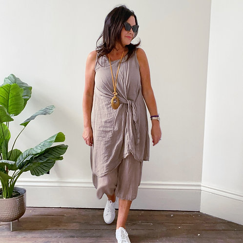 LOOSE TIE FRONT DRESS -  TAUPE