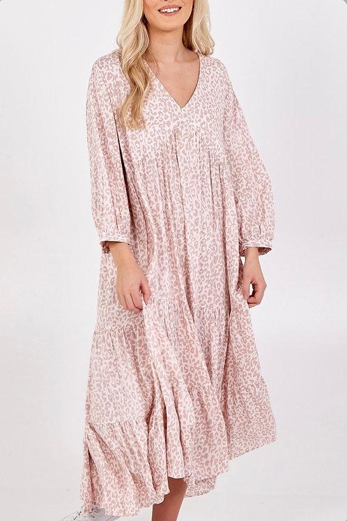 TIERED LEOPARD PRINT MAXI DRESS - ROSE