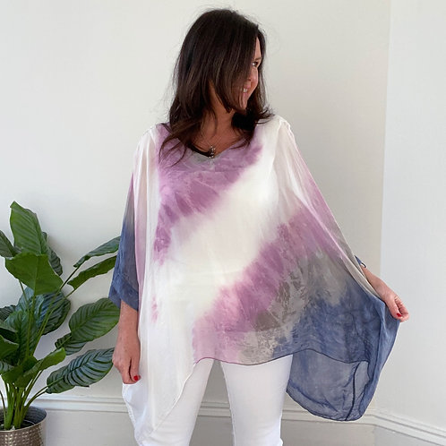 MADE IN ITALY SILK TIE DYE TOP