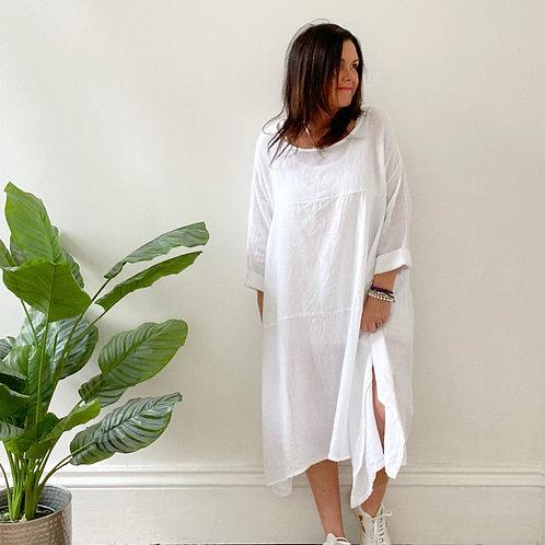 OVERSIZED LIGHTWEIGHT TUNIC DRESS - WHITE
