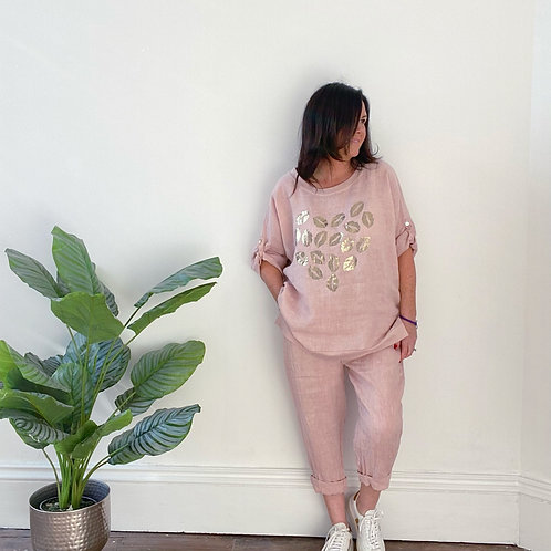MADE IN ITALY TURN UP LINEN TROUSERS - PINK