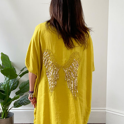MADE IN ITALY SEQUIN WINGS TOP - CITRUS