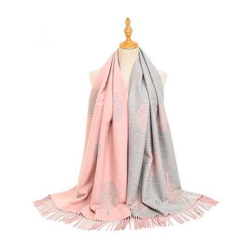 TREE OF LIFE SCARF - PINK/GREY