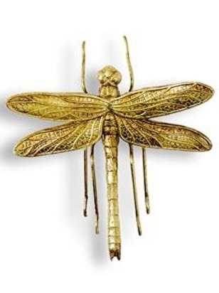 SMALL ANTIQUE GOLD DRAGONFLY WALL DECOR