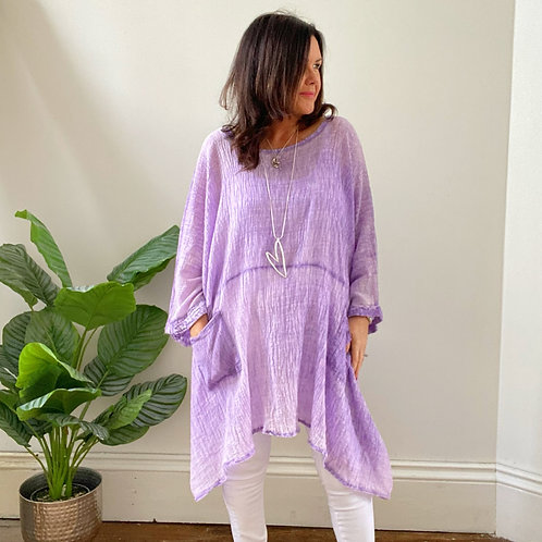 TWO POCKET LIGHTWEIGHT CRINKLE  TOP - LILAC