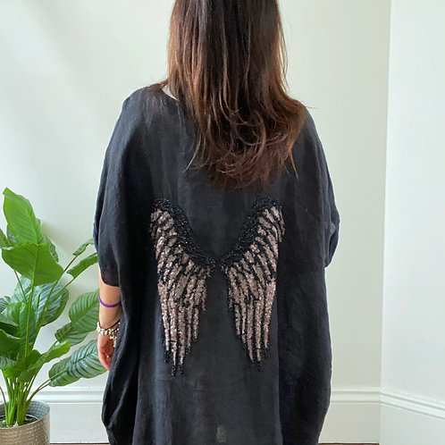 MADE IN ITALY SEQUIN WINGS TOP - BLACK