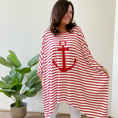 ANCHOR STRIPEY TUNIC - RED