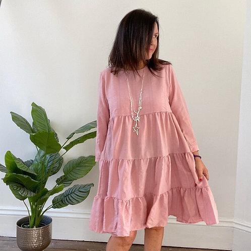 TEXTURED TIERED DRESS - ROSE