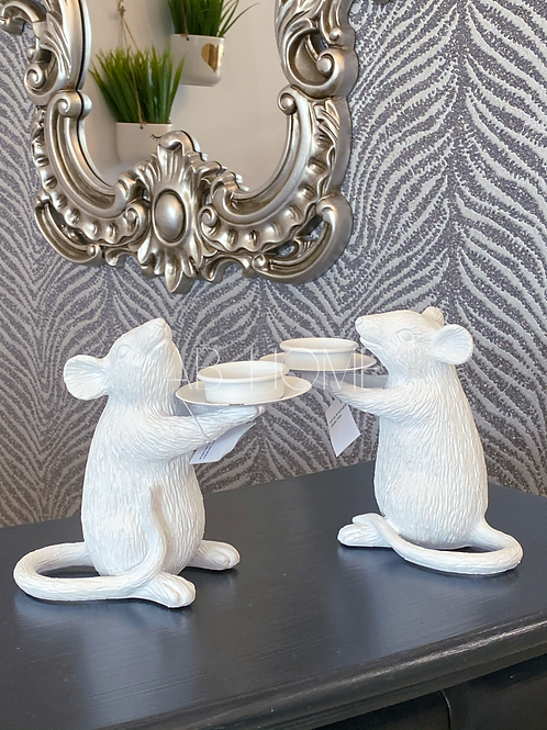 PAIR OF WHITE MOUSE CANDLE HOLDERS