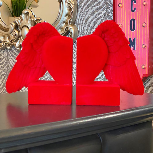 RED FLOCKED WINGED HEART BOOKENDS