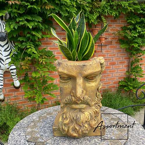 TALL ANTIQUE GOLD CLASSICAL FACE PLANTER