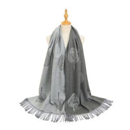 TREE OF LIFE SCARF - GREY/SILVER