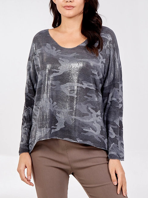 METALLIC CAMOUFLAGE TOP -  DARK GREY