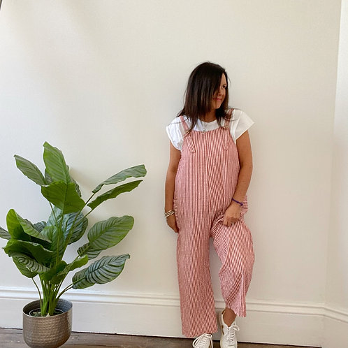 MADE IN ITALY CABO STRIPY JUMPSUIT - POPPY