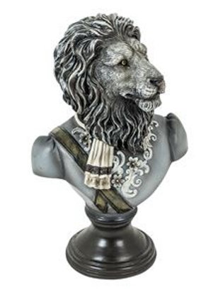 MONOCHROME GENTRY LION BUST ON STAND