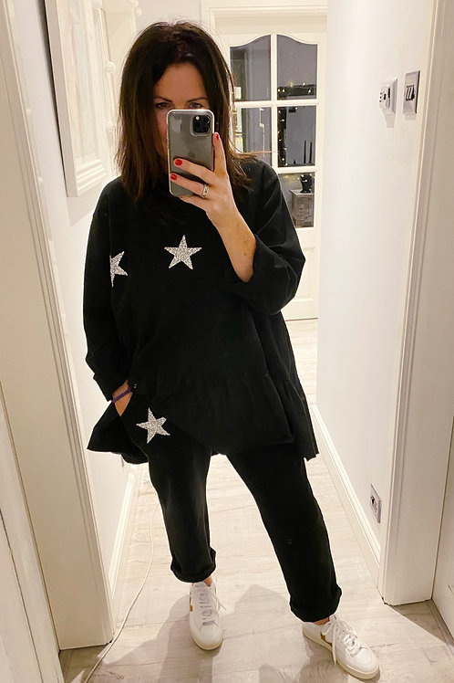 GLITTER STAR LOUNGEWEAR SET - BLACK