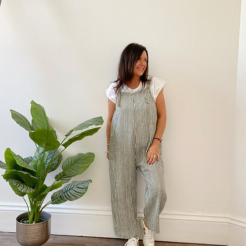 MADE IN ITALY CABO STRIPY JUMPSUIT - KHAKI